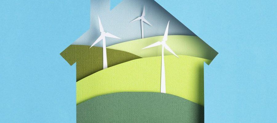 Green alternative eco friendly energy. Windmill turbines landscapes