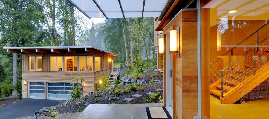 Issaquah, Washington, USA,Balcony and awning of modern house